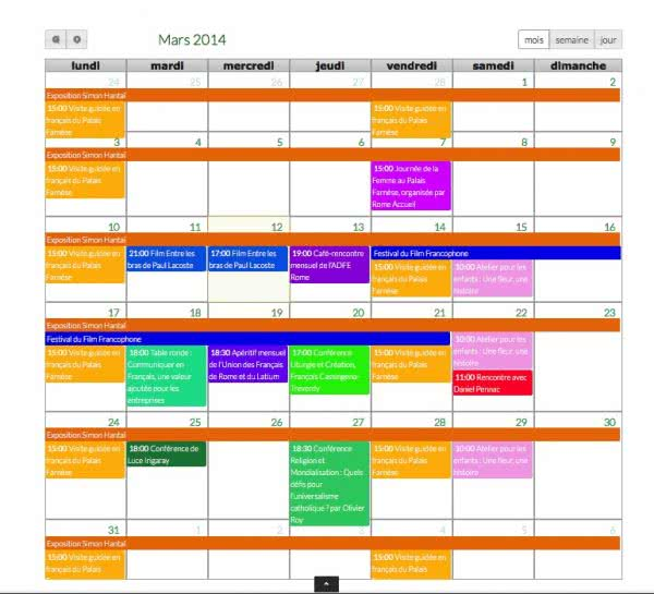 calendrier des Francophones de Rome