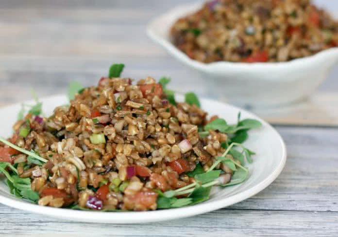 Salade farro pancetta spinaci