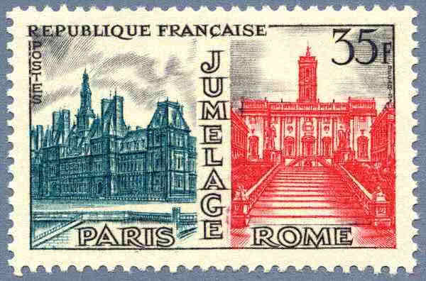 Timbre jumelage Paris-Rome