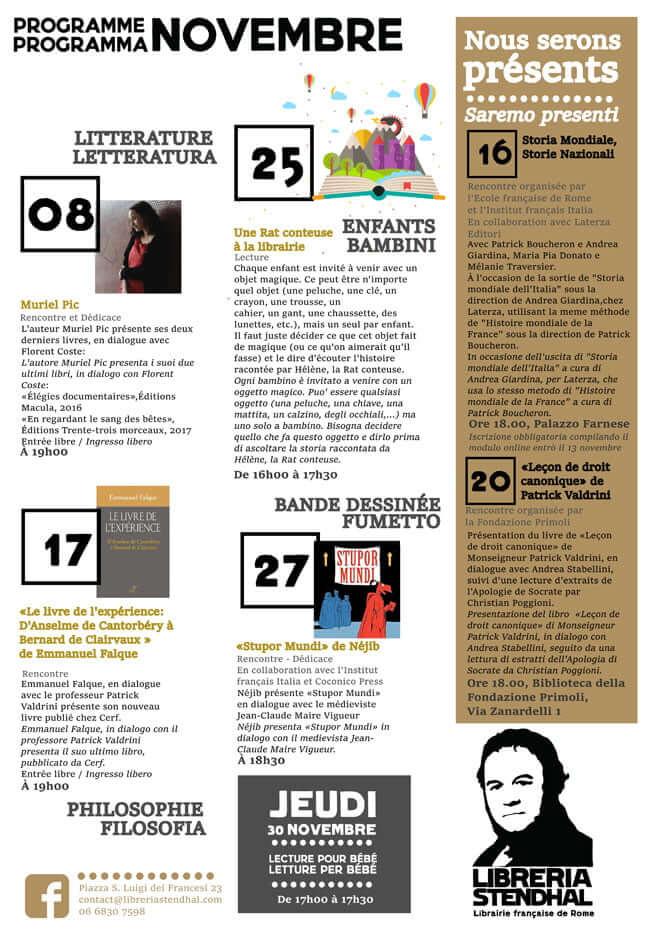 Programme Novembre Libreria Stendhal
