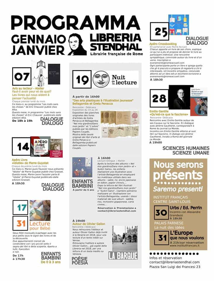 Libreria Stendhal programme janvier 2019
