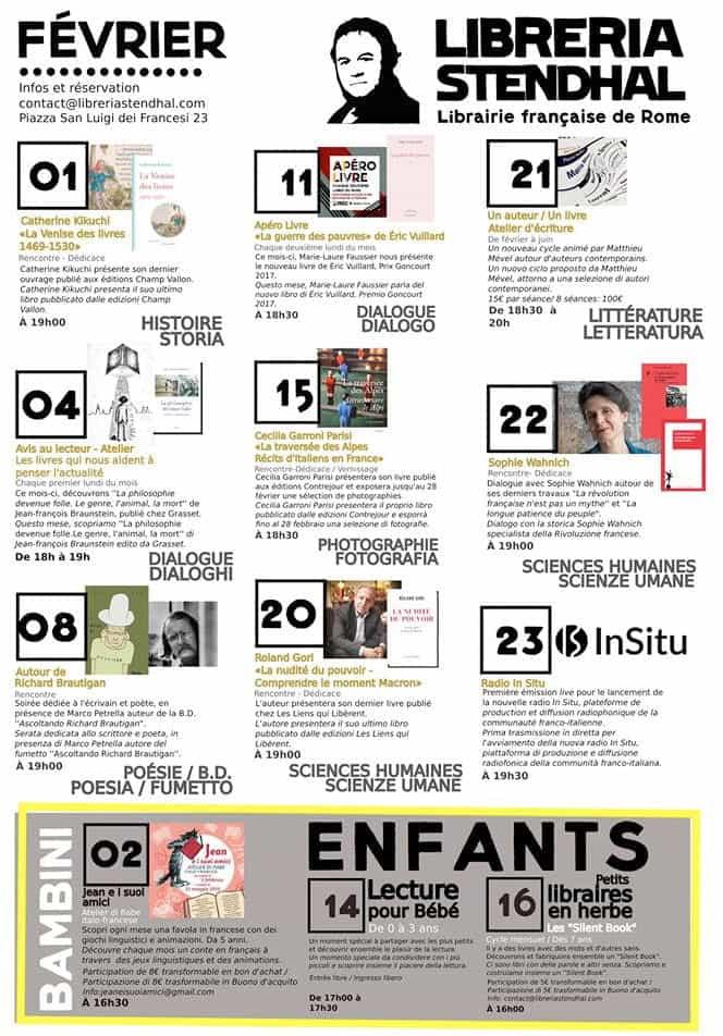 Libreria Stendhal programme fevrier 2019