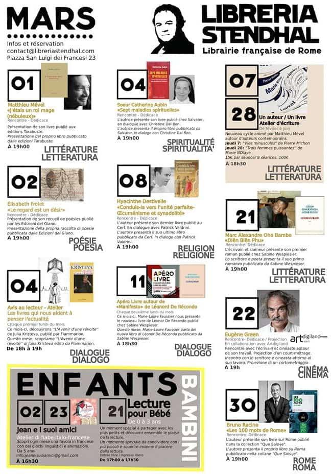 Libreria Stendhal programme mars